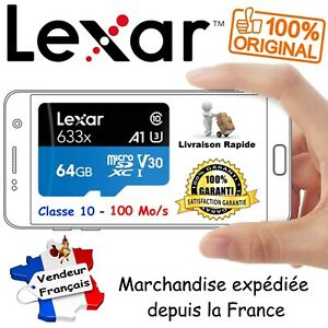 LEXAR Carte Mémoire MicroSD 64 Go 633x UHS-I U3 V30 4K CLASSE 10 + Adaptateur SD