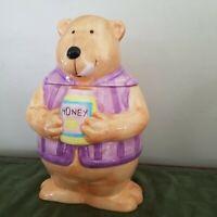 Ceramic Brown Bear Holding A Honey Pot Cookie Jar Purple Vest