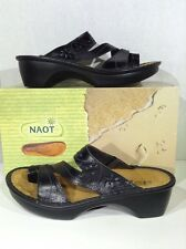 NAOT Montreal Women's Size 7 EU 38 Black Leather Slip On Sandals Shoes X3-987