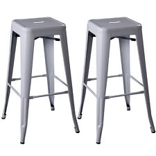 Set of 2 Metal Steel Bar Stools Vintage Antique Style BarStool Backless 5 Color