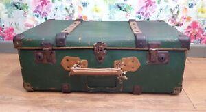 Vintage antique bentwood green suitcase trunk storage prop wedding styling