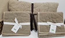 Pottery Barn Rustic Stonewashed Full Queen Quilt Flax and 2 Euro Shams New