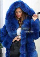 Damen Wintermantel Faux Pelz mit Kapuzen Jacke Lange Mantel Kunstpelz 9XL 10XL