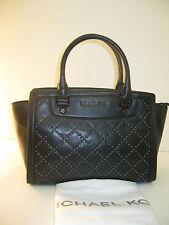 Michael Kors Medium Black Micro Stud Selma Quilted Leather Satchel Bag $348