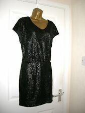 16 ASOS BLACK SEQUIN PLUNGE BACK MINI DRESS RETRO 70'S CLASSY PARTY XMAS