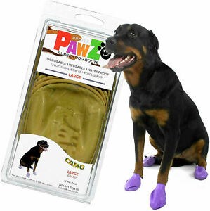 12 Protex PawZ Rubber Waterproof Snow Dog Boots Large Camo New