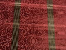 """DONGHIA DAMASK FLORAL STRIPE CRANBERRY RED VELVET PILLOW FABRIC BY THE YARD 52""""W"""