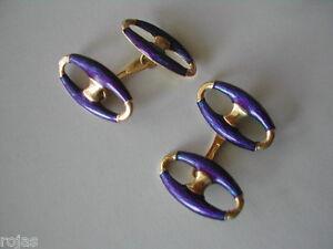 VINTAGE  18k gold and enamel cufflinks