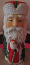 Hand Painted Santa, Xmas Trees 3D Raised Image Candle Holder Holiday Table Decor