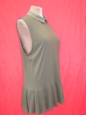 Oasis Black Stud collar Peplum Flared Khaki Green Top Blouse M/L 1940s 50s style