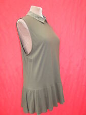 Oasis Black Studded collar Peplum Flared Long Khaki Green Top Blouse 12 14 16