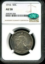 1916 50C Walking Liberty Silver Half Dollar AU58 NGC 3905387-004 CAC