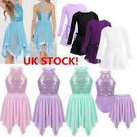 UK Girls Lyrical Outfit Ballet Dance Dress Leotard Gymnastics Ballroom Costume