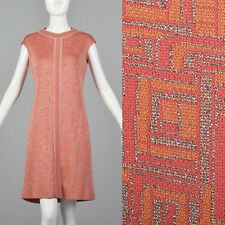 XS 1960s Metallic Knit Mod Dress Sleeveless Vintage Short Pink Silver Stretch