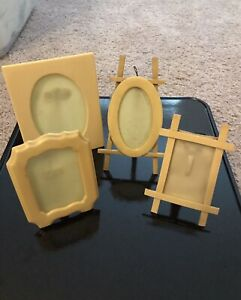 4 Vintage Celluloid Picture Frames with Easel Stands