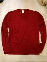 GAP Merino Wool Dark Red Burgundy Men's Pullover V neck Sweater, Size L