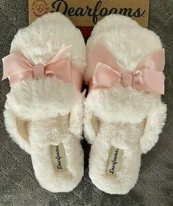 Dearfoams Slippers Women's White Sexy Cozy Fluffy Fur S M L XL 6 7 8 9 10 11