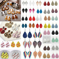 Women Bohemia Leather Leaf Teardrop Earrings Ear Stud Hook Drop Dangle Jewelry