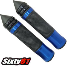 Suzuki GSXR 600 750 Black Blue Hand Grips Comfort Gel Spiked Bar Ends 7/8