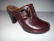 New SOFFT dark brown leather high heel mule clog shoes US Sz 8.5M