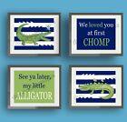 Alligator Gator Wall Art Prints for Child or Baby Bathroom, Nursery, or Bedroom