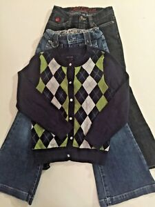 Girl's Outfit GAP Flare Jeans & TOMMY HILFIGER Blue Argyle Cardigan Sweater 6