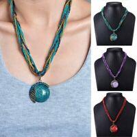 Retro Handmade Pendant Necklace Multi-layer Rice Beads Chain Women Ethnic Gifts