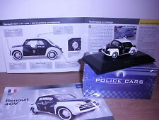 """RENAULT 4CV """" POLICE DE PARIS """"  DE 1955 au 1/43e COLLECTION UNIQUE ATLAS"""