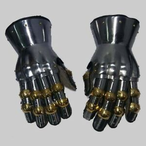 Princely Hourglass Gauntlets Silver Functional Large 16G Steel Leather Glove SCA