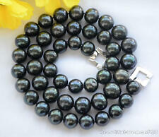 Z6326 15mm ROUND Tahitian black Freshwater cultured PEARL NECKLACE 24inch