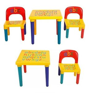 ABC Alphabet Children Kids Plastic Table and Chair Set School Gift Christmas UK