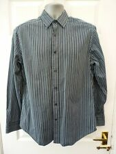 GAP Mens Size M Black Teal Multi Striped Long Sleeve Smart Casual Cotton Shirt