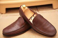 Tod'S para hombres hecho en Italia Marrón Cuero Mocasines Zapatos UK 8