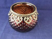 Large Glass Copper Brown Coloured Candle Holder with Decoration.