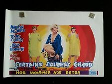 Some Like It Hot 1959 Belgian Movie Poster Marilyn Monroe Tony Curtis