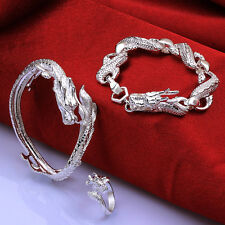 Hot Selling 925Sterling Silver China Dragon Man Chain Bracelet+Ring Set S775-A