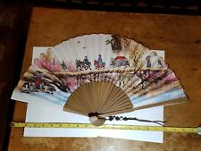 """New listing Korean Traditional Bamboo Hanji Hand Fan New With Box 20 3/4"""" wide 11 1/4"""" tall"""