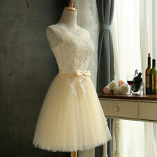 Sexy Tulle Short Prom Gown Womens Applique Bridesmaid Dress Girls Party Cocktail
