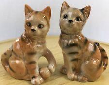 Vintage Cat Kitten Salt And Pepper Shaker Set Ceramic  Peach Black Japan