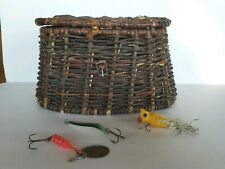 Vintage Fishing Creel + 3 Lures - Needs some Tlc - Still Nice & Sturdy