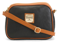 VALENTINA Made In Italy Black Pebbled Leather Triple Entry Crossbody MSRP$199.99
