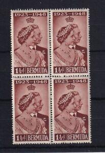BERMUDA 1948 Silver Wedding 1½d Block of 4 LMM