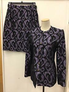 Authentic YVES SAINT LAURENT Black/Purple Wool Blend Skirt Suit Size 40 US 8