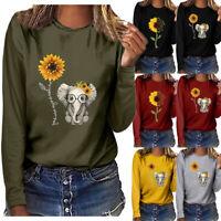 Women Plus Shirt Sunflower& Elephent Print Long Sleeved T-shirt Blouse Tops New