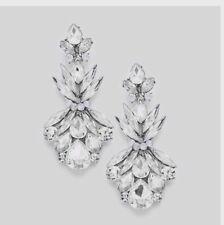 "2.7"" Clear Crystal Pageant White Silver Wedding Long Rhinestone Bridal Earrings"