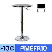 Table haute de bar mange-debout bistrot plateau MDF rond hauteur réglable