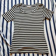 Maritimes Shirt von H&M Woman, M, schwarz-weiss gestreift