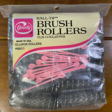 2 Packs Vintage Goody Large Ball Tip Brush 12 Rollers Hair Curlers 14 Pins Each