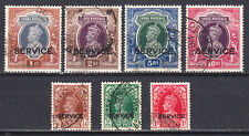 INDIA 1937-39 KGVI SERVICE OFFICIAL SET COMPLETE T0 10r SCOTT #O97-O103 USED