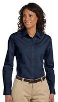 Harriton Women's Finish Spread Collar Poplin Long Sleeve Dress Shirt. M510W